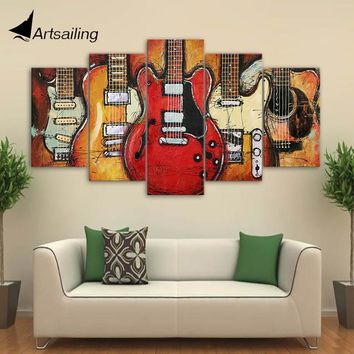 Canvas Paintings Printed 5 Pieces Guitar Abstract Wall Art Canvas Pictures For Living Room Bedroom Home Decor CU-1409A