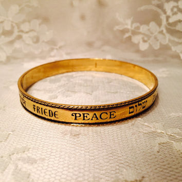 Vintage Avon Let There Be Peace Bangle Bracelet Signed Avon in Many Languages Gold Bracelet