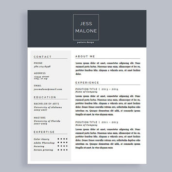 Professional CV Template | Free Matching Cover Letter | Resume Template for Word and Pages | Instant Download | Modern CV | Customizable