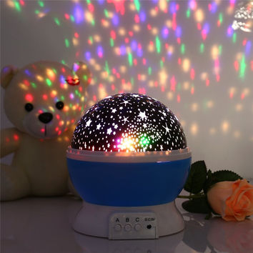New Romantic New Rotating Star Moon Sky Rotation Night Projector Light Lamp Projection with high quality Kids Bed Lamp