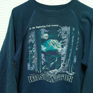 WASHINGTON vintage Sweatshirt worn distressed outdoor nature forest scene 80's Hanes artist crewneck 50/50 M/L In the beginning God created