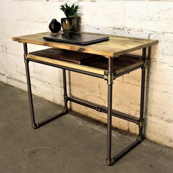 Berkeley Industrial Mid-Century Writing Desk In Brushed Brass Gray Steel Combo With Natural Stained Wood