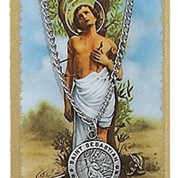 "Round Pewter Silver St. Sebastian Medal with 24"" Chain, Prayer Card Set."