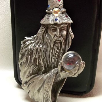 Wizard Merlin JJ pin pewter crystal ball