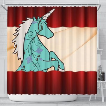 Unicorn Floral Print Shower Curtain-Free Shipping