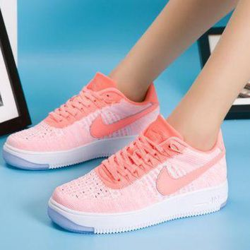 Nike Air Force 1 Flyknit Af1 820256 608 Orange For Women Men Running Sport Casual Shoes Sneakers