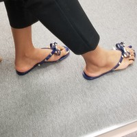 Navy Blue Studded Bow Jelly Sandals