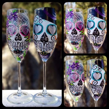 Hand painted Sugar skull bride and groom champagne flute set