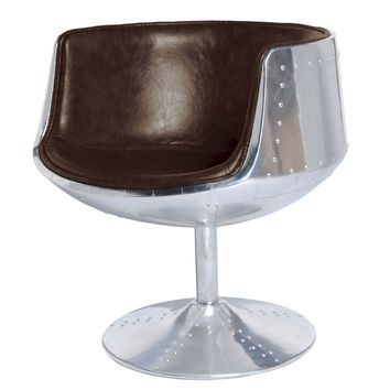 Conan Swivel Chair Aluminium Frame, Distressed Java