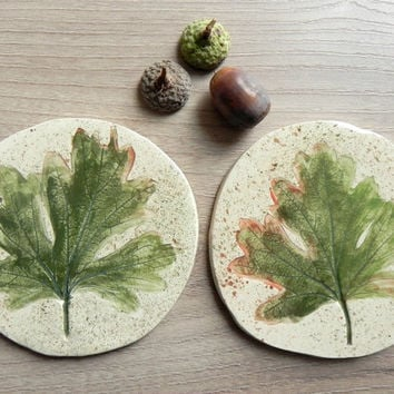 Ceramic Leaves Coasters Organic Shape Green Brown Dotty Kitchen Accessories  Set of 2