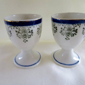 2 Blue White Egg Cups White Porcelain with Green Blue Transfer Ware Gilt Rim 1920's Fine China Eggcup Pair Blue White China
