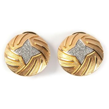 Lanvin Vintage Diamante Star Ear Clips