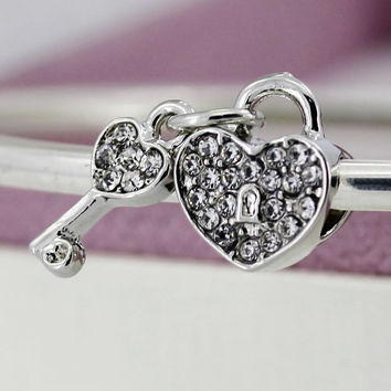 New Silver Plated Bead Charm Love Heart Lock & Key With Full Crystal Beads Fit Pandora Diy Bracelets & Bangles Jewelry YW15632