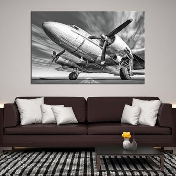 82744 - Black and White Bottom-up View of Airplane Canvas, Extra Large Wall Art, Large Canvas Print, Propeller Canvas, Read to Hang, Framed Wall Art