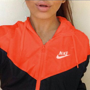 NIKE Trending Women Men Leisure Long Sleeve Print Hooded Zipper Coat Windbreaker Red Black I