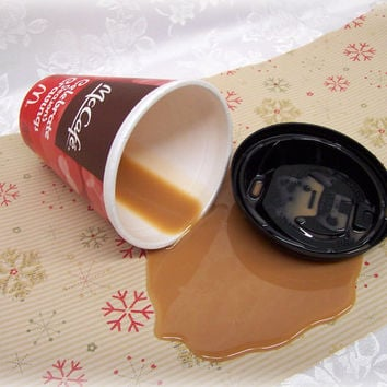 Fake Spilled Coffee With Cream in a Holiday Styrofoam Cup Prop Gag Fun McC