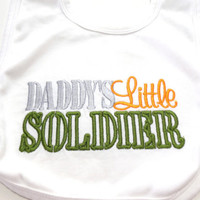 Bib Embroidered Military Baby Daddy's Little Soldier Air Force Army Marines Navy