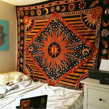 Cupshe Flaming Sun And Moon Square Tapestry