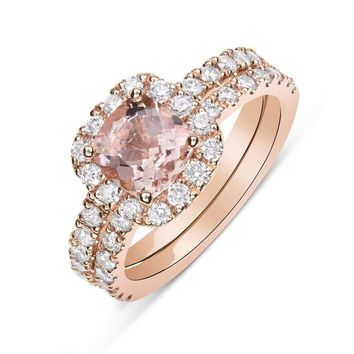 Rose Gold Morganite Wedding Ring Bridal Set Cushion Cut Diamond Halo with Matching Band by Luxinelle® Jewelry