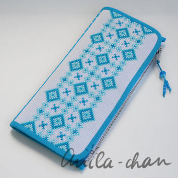 "Ukrainian hand-embroidered blue wallet ""Tenderness"""