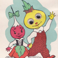 "Glued Googly Eyes, Double Greeting Card ""Cipollino"" -- 1968. Condition 9/10"