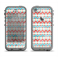 The Vintage Red & Blue Chevron Pattern Apple iPhone 5c LifeProof Fre Case Skin Set
