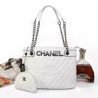 CHANEL Women Shopping Chain Splicing Shoulder Bag Satchel Crossbody  G-MYJSY-BB