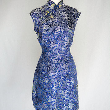 Vintage Blue Brocade Dragons Mini Cheongsam Dress Top M/L Size 38