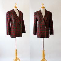 Vintage Double Breasted Plaid Boyfriends Jacket / Jones of New York Blazer