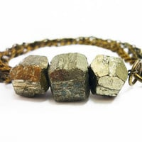 Triple Geometric Pyrite Gold Raw Crystal & Mixed Chains Bracelet by AstralEYE