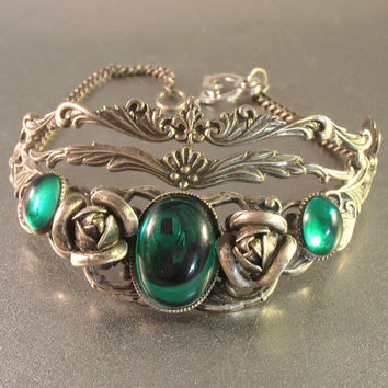 Victorian Revival Roses Bracelet with Emerald Green Cabochons, Ornate Silver Plate