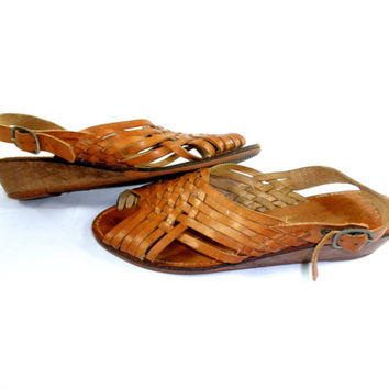 1980's Leather Sandals // Coasters Leather Woven Shoes // Genuine Leather Sandals // Boho Flats // Size 6 1/2