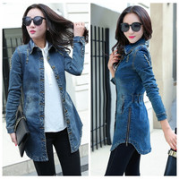 Vintage Women Denim Jacket 2016 Woman Casual Washed Jean Jacket Slim Holes Zipper Long Jean Coat Outwear Female Clothing S-XXL