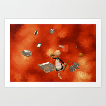 A French Maid Calamity - Funny Artwork Art Print by Liam Liberty
