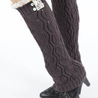 Hana Pearl Lace Accent Knit Leg Warmers in Dark Gray