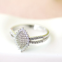 Sunflower Inspired floral Ring Crystal flower Ring Gold Silver Plated Jewelry gift idea