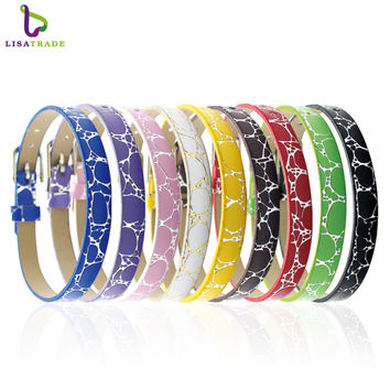 "8MM PU Leather Wristband Bracelets "" Can Choose Color"" (20 pieces/lot) DIY Accessory Fit Slide Letter /Slide Charms LSBR04*20"