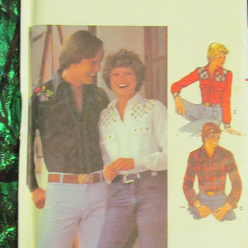 SALE Uncut Butterick Sewing Pattern, 5006! Size 10, Women's/Misses/Men's, Western Cowboy/Cowgirl Shirt, Embroidery transfer, Unisex, Plaid S