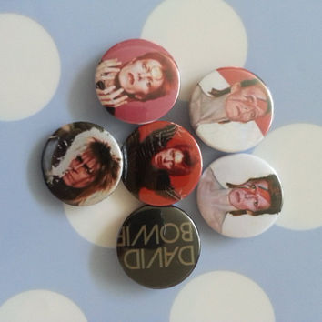 Hand Made David Bowie 32mm Buttons Labyrinth, Aladdin Sane, Ziggy Stardust
