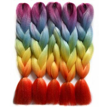 ONETOW Chorliss 24'(65cm) Jumbo Synthetic Crochet Hair Extension Ombre Braiding Hair Straight Crochet Braids Rainbow Color 100g 1pc
