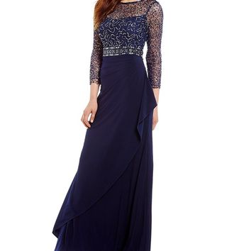 Decode 1.8 Sequin Lace Bodice Ruffle Front Gown | Dillards