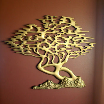 VINTAGE MID CENTURY Modern Hollywood Regency Chinoiserie Solid Brass Bonsai Wall Sculpture Hanging Tree of Life Ready to Hang Artwork