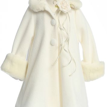 Ivory Fleece Girls Dress Coat with Fur Trim 2-12