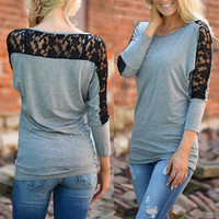 Gray Contrast Lace Paneled Top
