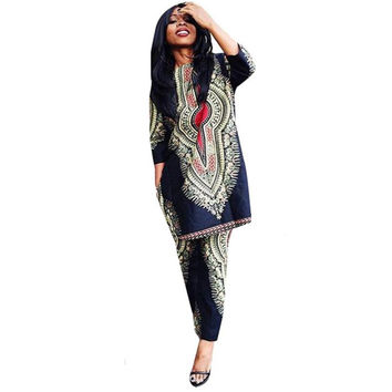 Realer Women Dashiki Fashion African Print Casual Straight Print Tops+Pants As picture show Polyester fiber Material Anne