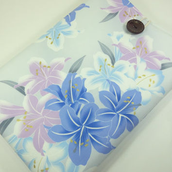 "Gift For Her, 13"" Macbook Pro Case, OOAK 13"" Macbook Sleeve, Japanese Kimono Cotton Lily Pastel Blue"