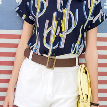 Shirt Collar Short Sleeve Plant Print Shirt + High-Waisted Shorts