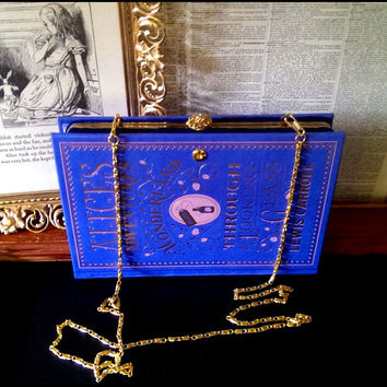 Book Clutch Alice's Adventures in Wonderland & Through the Looking Glass by Lewis Carroll Book Purse Ready to Ship