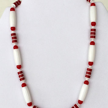 Vintage Red and White plastic bead necklace by purrfectstitchers