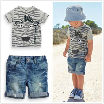 New 2016 summer boy clothes kids clothes boys clothing set children's short-sleeved T-shirt + denim shorts